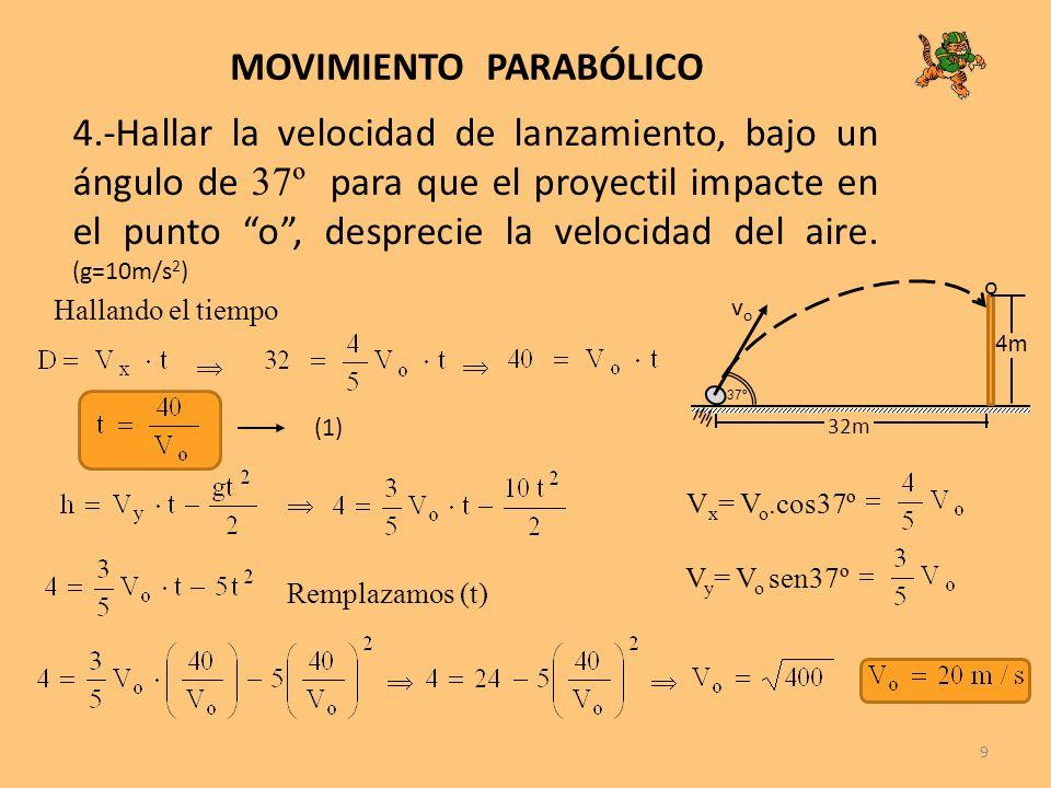 9 MOVIMIENTO PARABÓLICO 4.-Hallar la velocidad de lanzamiento, bajo un ángulo de 37º para que el proyectil impacte en el punto o, desprecie la velocid
