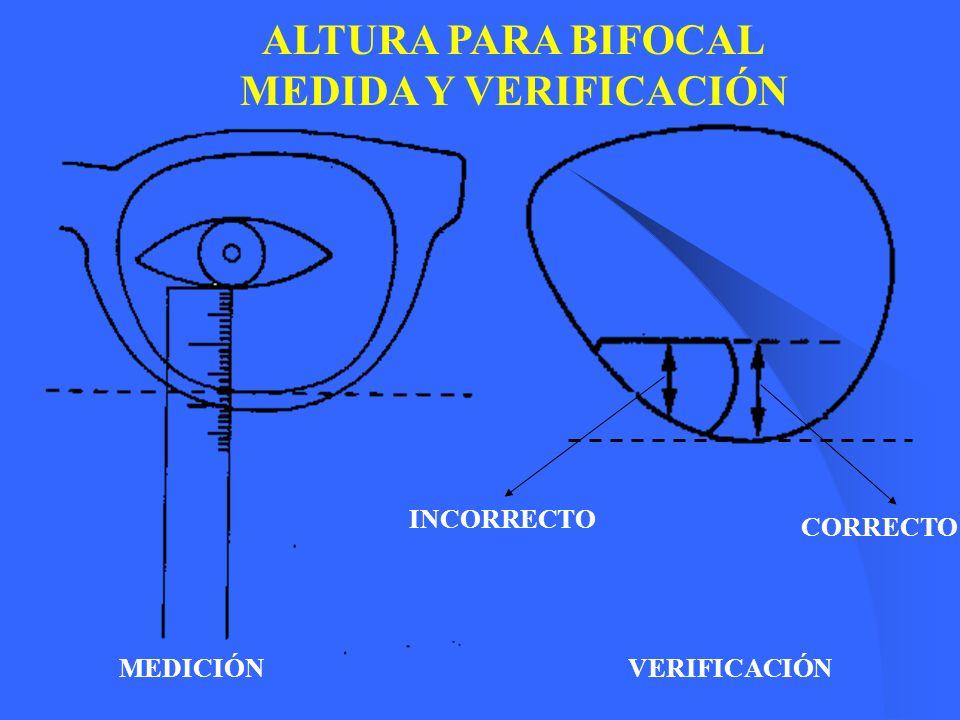 DIFERENCIA DE 12 Para lentes positivos altos con una considerable diferencia entre diámetros, el grosor aparecerá arriba y abajo.