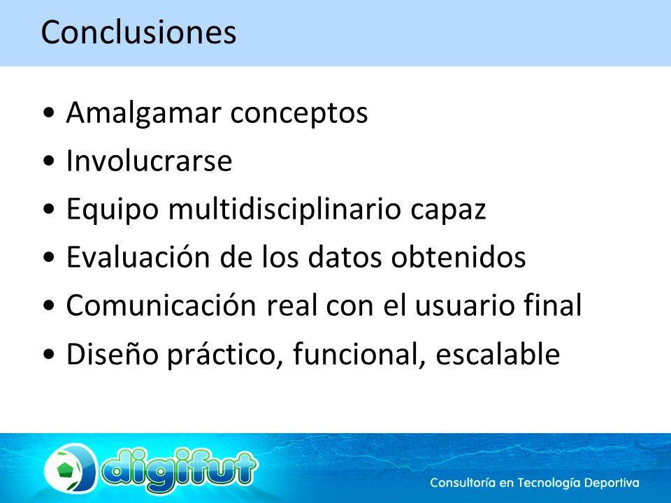 Conclusiones Amalgamar conceptos Involucrarse Equipo multidisciplinario capaz Evaluación de los datos obtenidos Comunicación real con el usuario final Diseño práctico, funcional, escalable