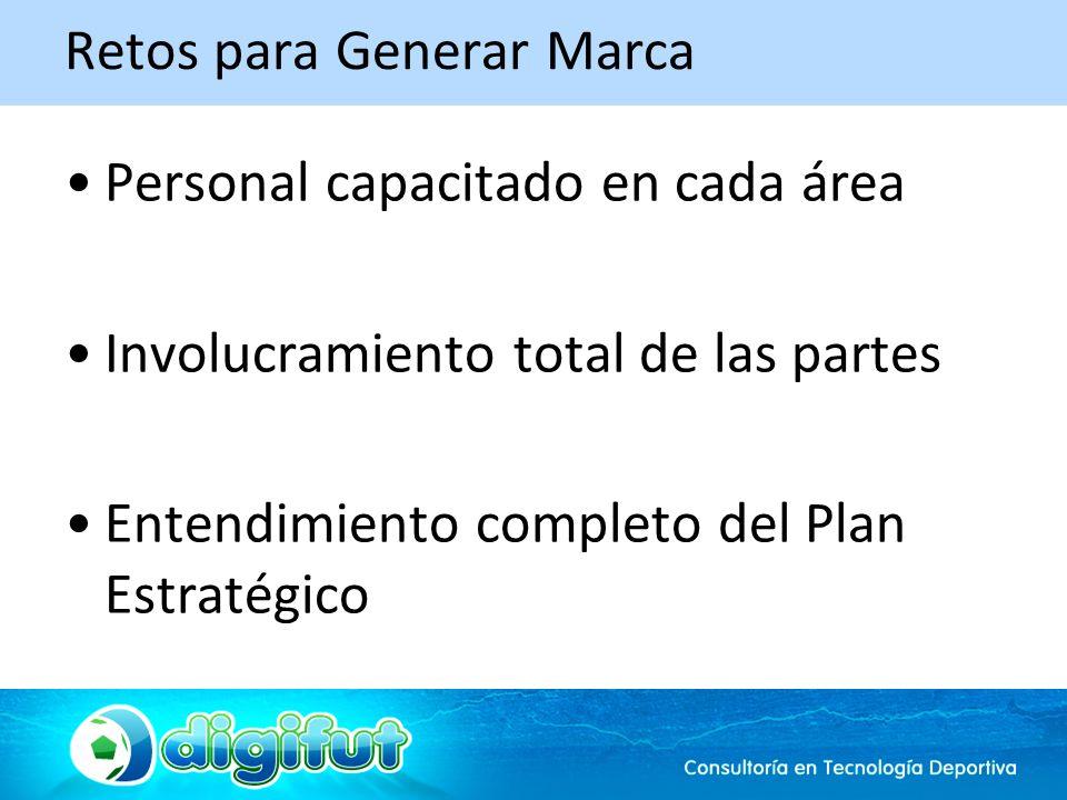 Retos para Generar Marca Personal capacitado en cada área Involucramiento total de las partes Entendimiento completo del Plan Estratégico
