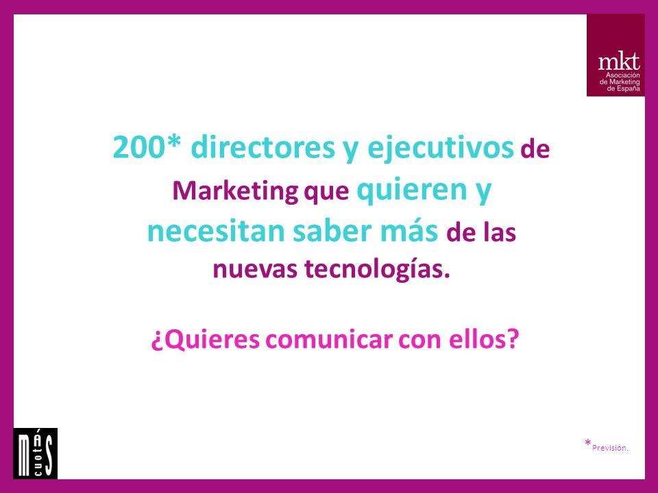200* directores y ejecutivos de Marketing que quieren y necesitan saber más de las nuevas tecnologías.