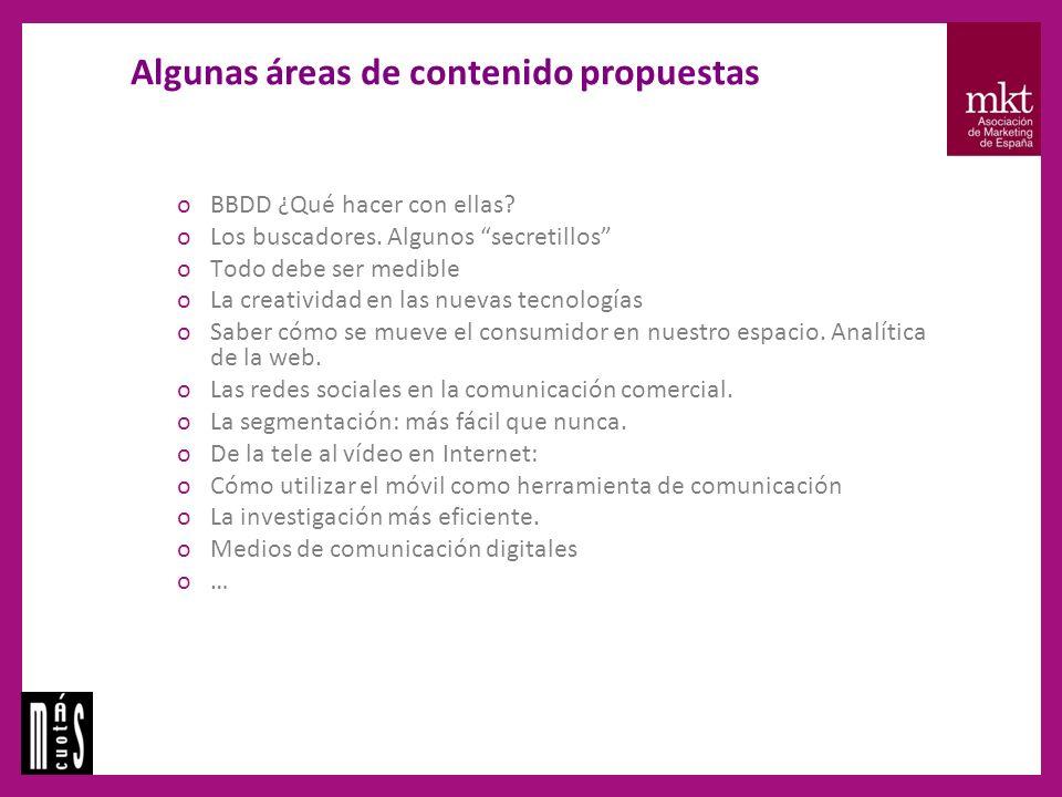 Algunas áreas de contenido propuestas oBBDD ¿Qué hacer con ellas.