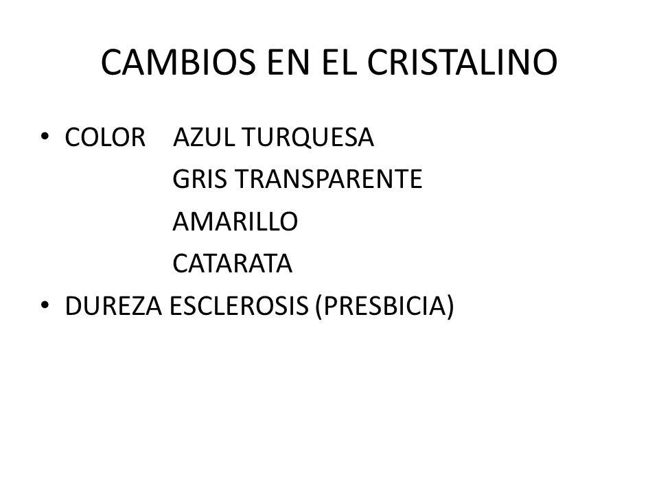 CAMBIOS EN EL CRISTALINO COLOR AZUL TURQUESA GRIS TRANSPARENTE AMARILLO CATARATA DUREZA ESCLEROSIS (PRESBICIA)