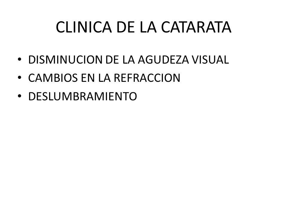 CLINICA DE LA CATARATA DISMINUCION DE LA AGUDEZA VISUAL CAMBIOS EN LA REFRACCION DESLUMBRAMIENTO