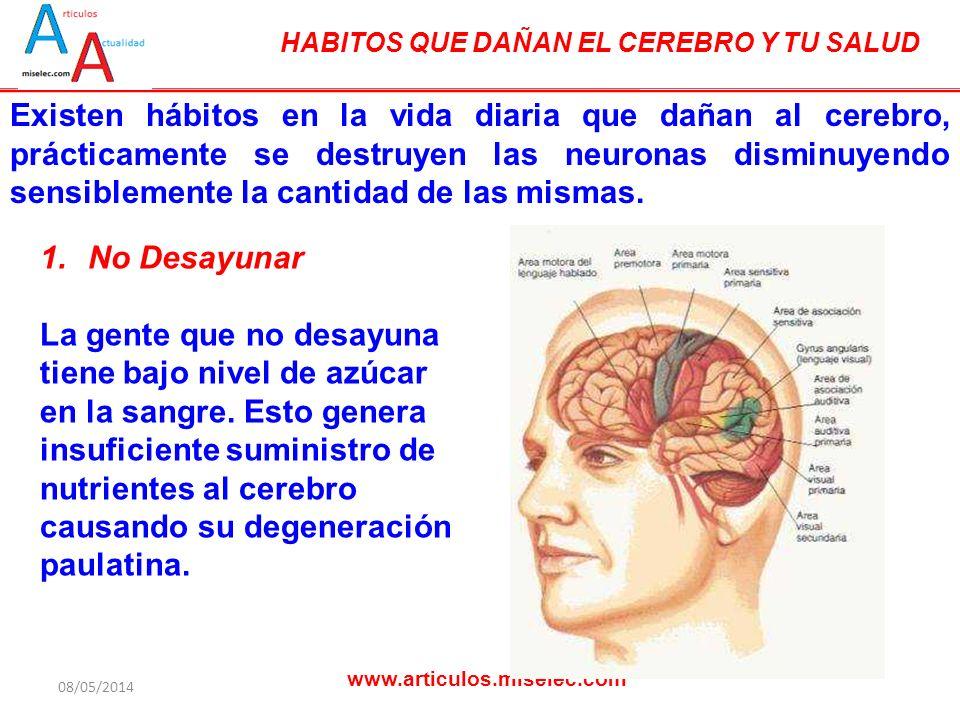HABITOS QUE DAÑAN EL CEREBRO Y TU SALUD www.articulos.miselec.com Existen hábitos en la vida diaria que dañan al cerebro, prácticamente se destruyen las neuronas disminuyendo sensiblemente la cantidad de las mismas.