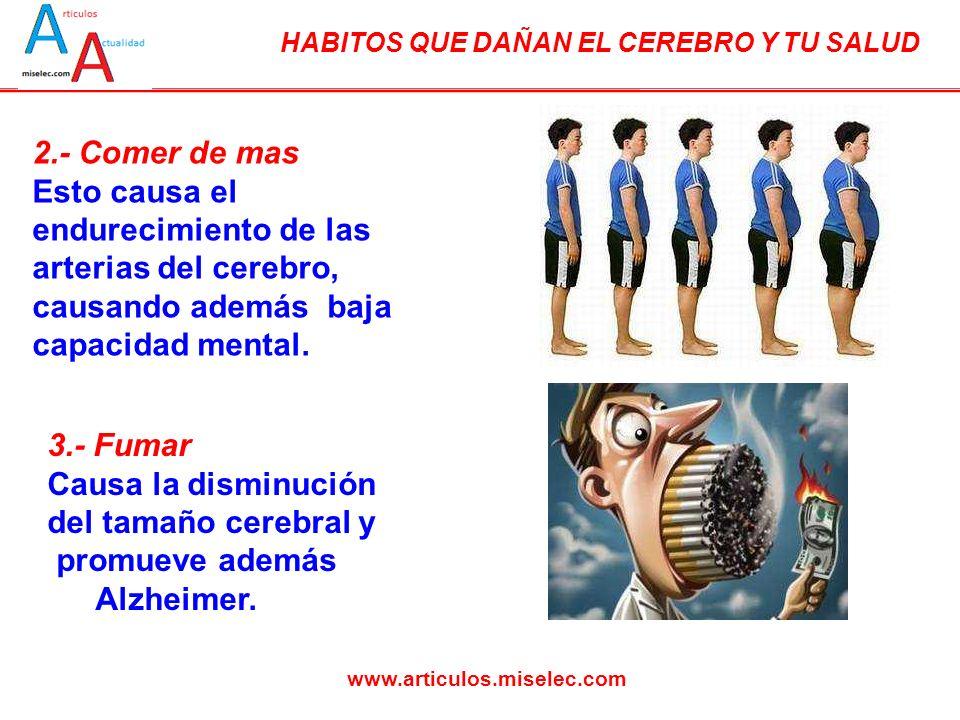 HABITOS QUE DAÑAN EL CEREBRO Y TU SALUD www.articulos.miselec.com 2.- Comer de mas Esto causa el endurecimiento de las arterias del cerebro, causando