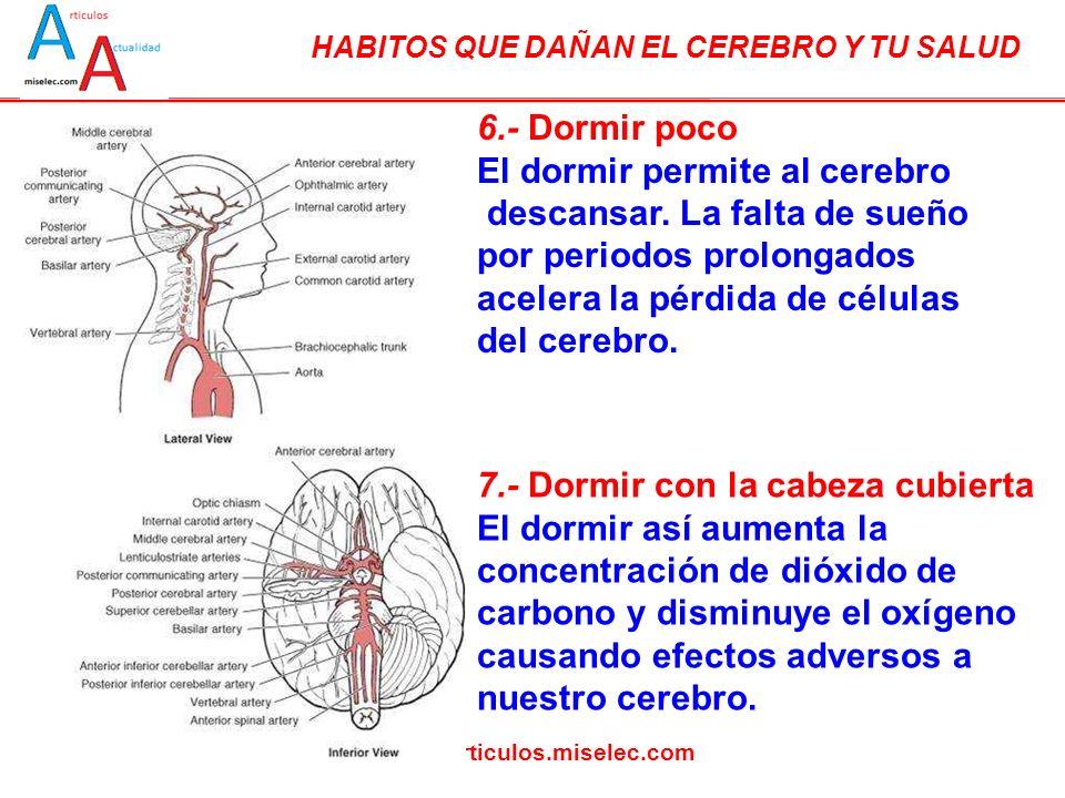 HABITOS QUE DAÑAN EL CEREBRO Y TU SALUD www.articulos.miselec.com 6.- Dormir poco El dormir permite al cerebro descansar. La falta de sueño por period