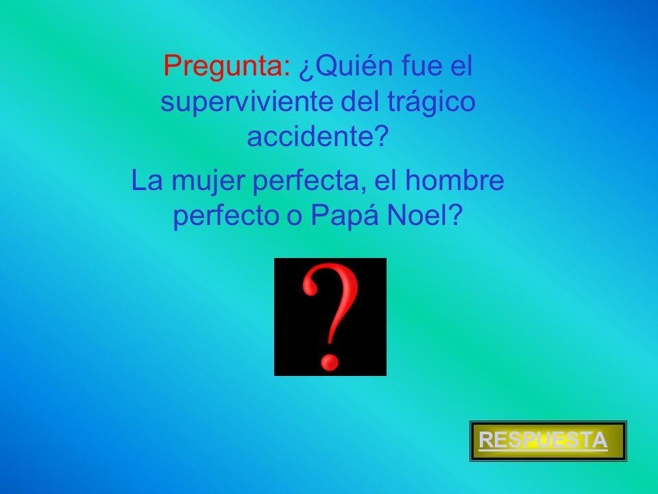 Pregunta: ¿Quién fue el superviviente del trágico accidente? La mujer perfecta, el hombre perfecto o Papá Noel? RESPUESTA