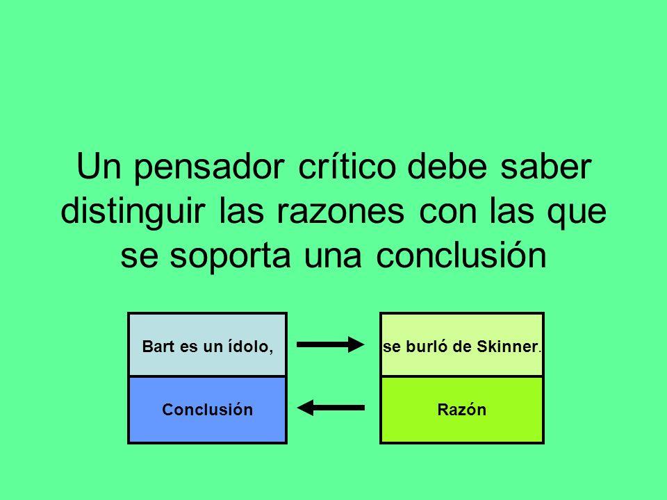 Un pensador crítico debe saber distinguir las razones con las que se soporta una conclusión Bart es un ídolo, Conclusión se burló de Skinner. Razón