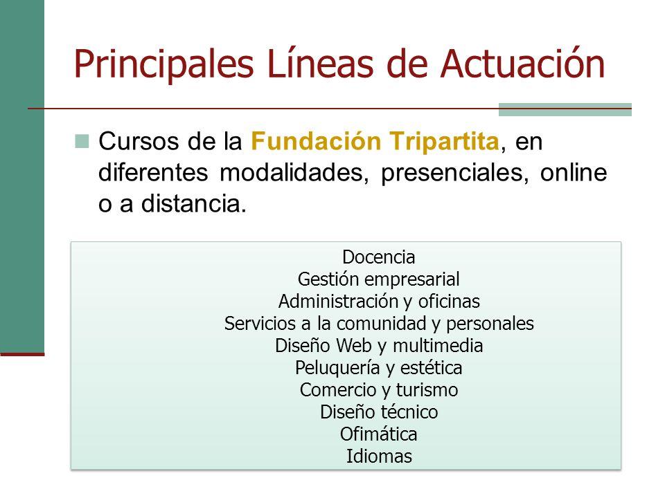 Principales Líneas de Actuación Cursos de la Fundación Tripartita, en diferentes modalidades, presenciales, online o a distancia.