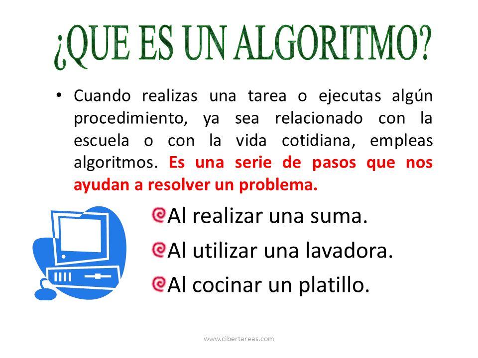 Constantemente estas aplicando algoritmos con el fin de resolver problemas o al ejecutar muchas actividades diarias.