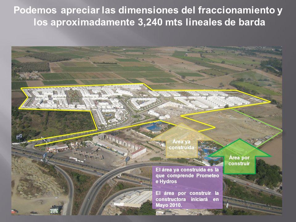 Podemos apreciar las dimensiones del fraccionamiento y los aproximadamente 3,240 mts lineales de barda Área ya construida Área por construir El área y