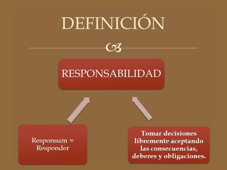 RESPONSABILIDAD Responsum = Responder Tomar decisiones libremente aceptando las consecuencias, deberes y obligaciones. DEFINICIÓN