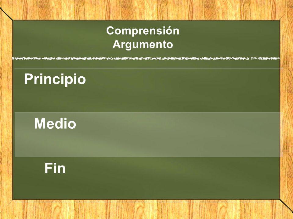 Comprensión Argumento Principio Medio Fin