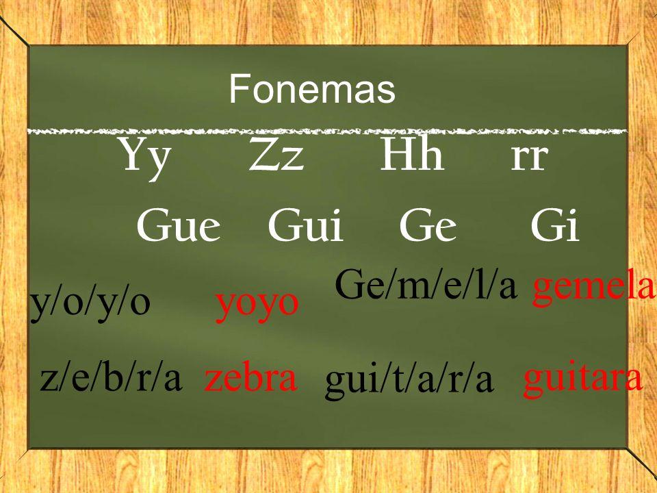 Fonemas YyZzHhrr GueGuiGeGi y/o/y/o yoyo z/e/b/r/a zebra Ge/m/e/l/a gemela gui/t/a/r/a guitara