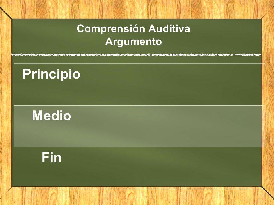 Comprensión Auditiva Argumento Principio Medio Fin