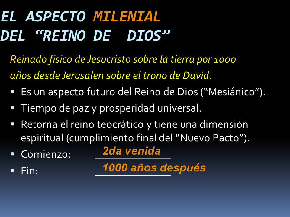 Reinado fisico de Jesucristo sobre la tierra por 1000 años desde Jerusalen sobre el trono de David.