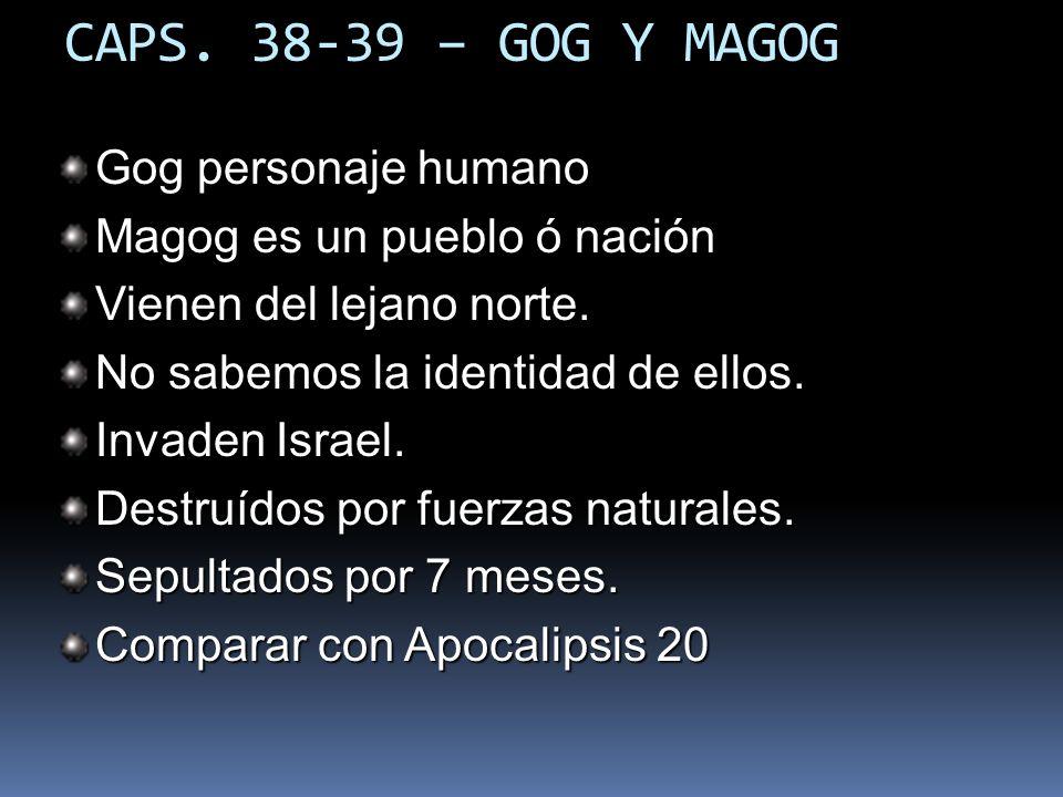 CAPS.38-39 – GOG Y MAGOG Gog personaje humano Magog es un pueblo ó nación Vienen del lejano norte.