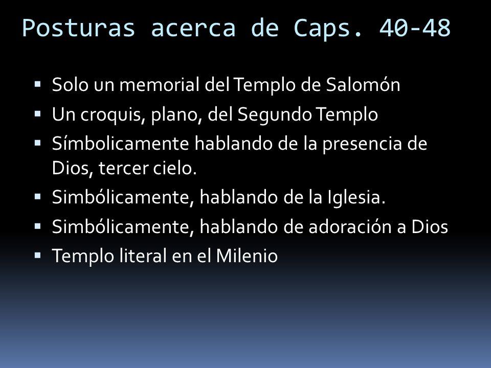 Posturas acerca de Caps. 40-48 Solo un memorial del Templo de Salomón Un croquis, plano, del Segundo Templo Símbolicamente hablando de la presencia de