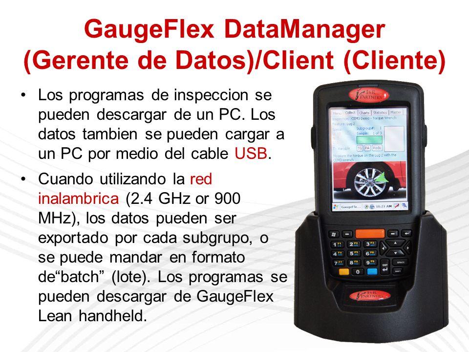 GaugeFlex DataManager (Gerente de Datos)/Client (Cliente) Los programas de inspeccion se pueden descargar de un PC.