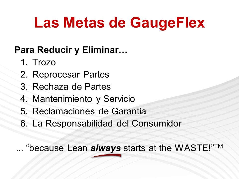 Las Metas de GaugeFlex Para Reducir y Eliminar… 1.Trozo 2.Reprocesar Partes 3.Rechaza de Partes 4.Mantenimiento y Servicio 5.Reclamaciones de Garantia