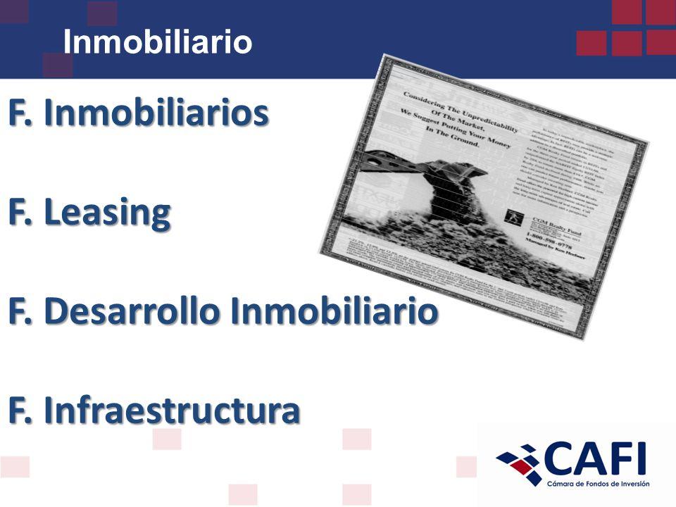 F. Inmobiliarios F. Leasing F. Desarrollo Inmobiliario F. Infraestructura Inmobiliario