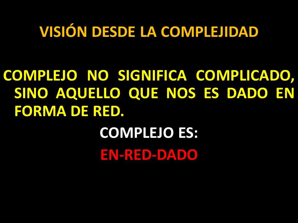 VISIÓN DESDE LA COMPLEJIDAD COMPLEJO NO SIGNIFICA COMPLICADO, SINO AQUELLO QUE NOS ES DADO EN FORMA DE RED.