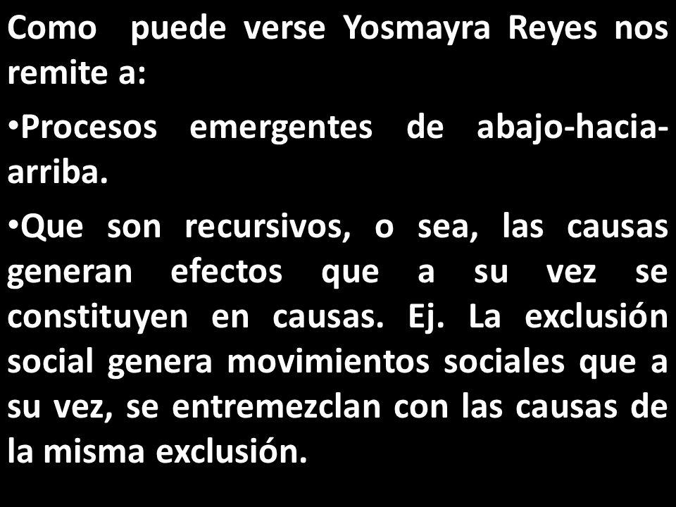 Como puede verse Yosmayra Reyes nos remite a: Procesos emergentes de abajo-hacia- arriba.