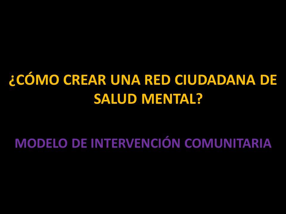 ¿CÓMO CREAR UNA RED CIUDADANA DE SALUD MENTAL MODELO DE INTERVENCIÓN COMUNITARIA