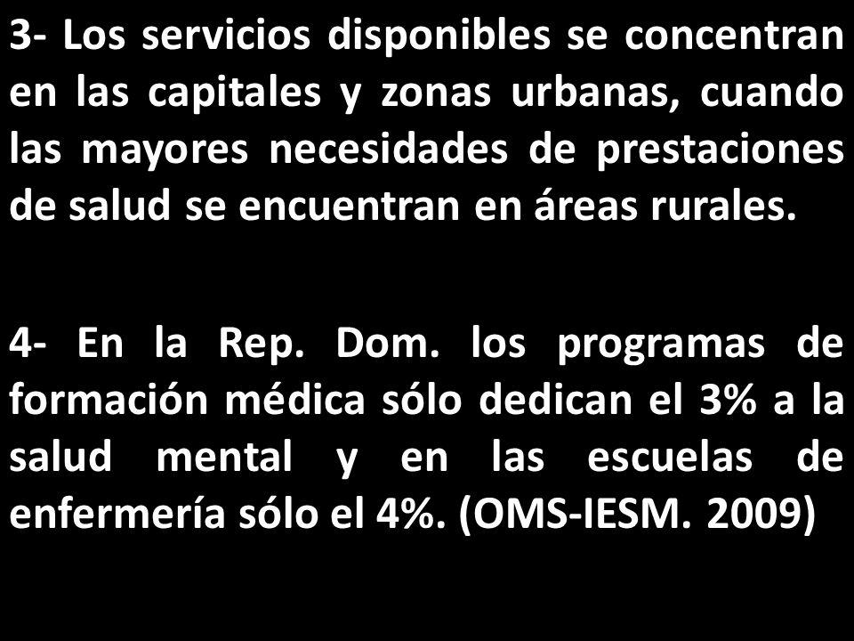 3- Los servicios disponibles se concentran en las capitales y zonas urbanas, cuando las mayores necesidades de prestaciones de salud se encuentran en áreas rurales.