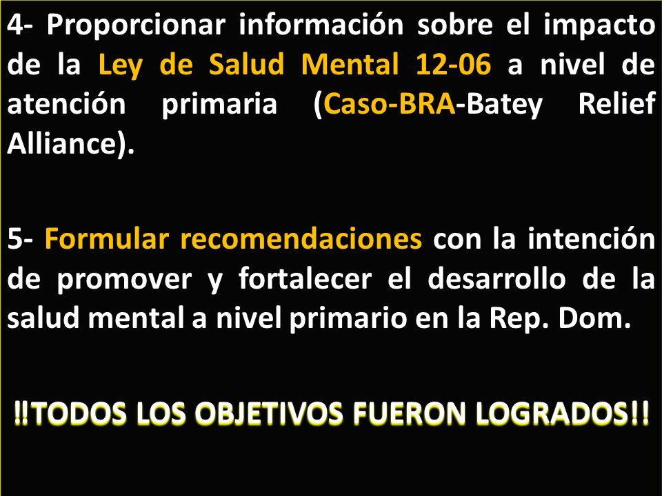 4- Proporcionar información sobre el impacto de la Ley de Salud Mental 12-06 a nivel de atención primaria (Caso-BRA-Batey Relief Alliance).