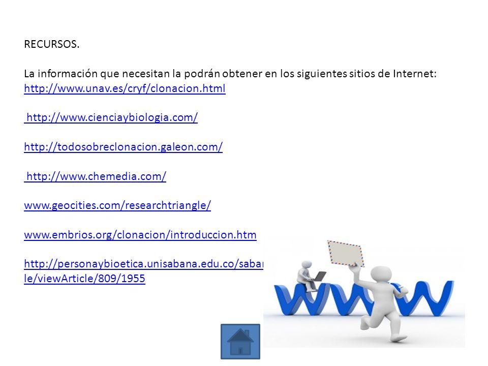 RECURSOS. La información que necesitan la podrán obtener en los siguientes sitios de Internet: http://www.unav.es/cryf/clonacion.html http://www.cienc
