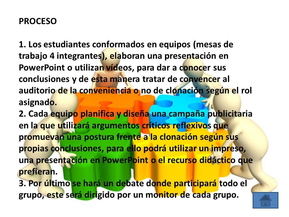 PROCESO 1. Los estudiantes conformados en equipos (mesas de trabajo 4 integrantes), elaboran una presentación en PowerPoint o utilizan vídeos, para da