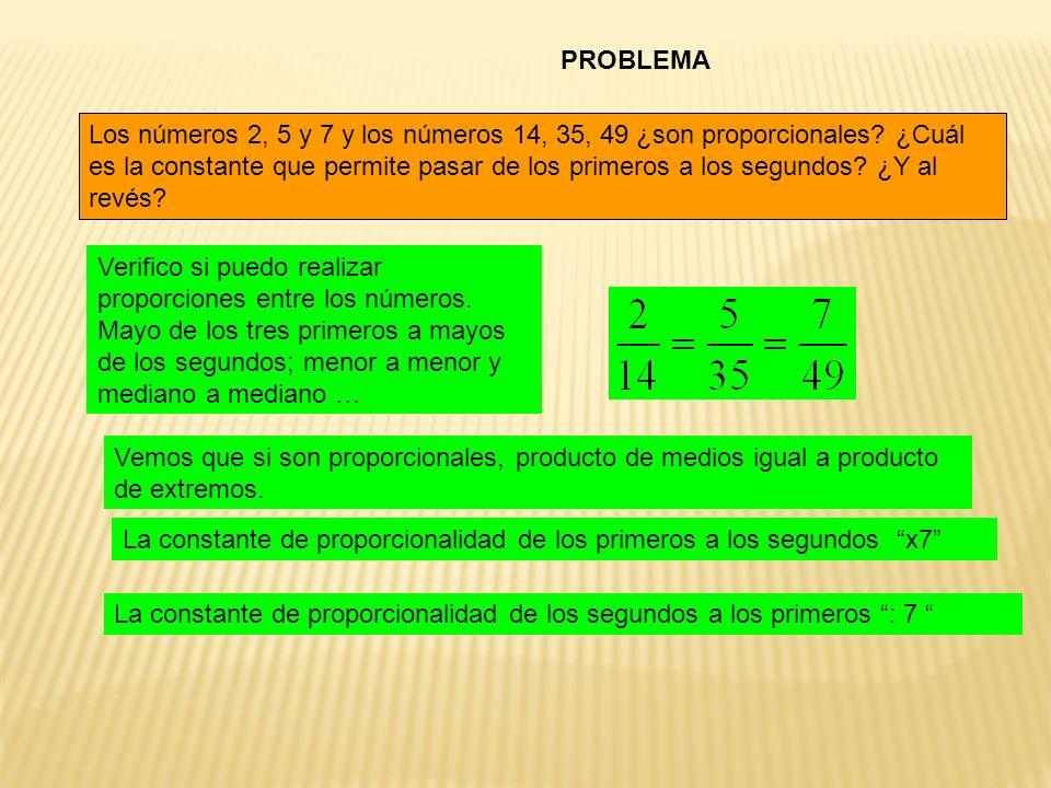 PROBLEMA Los números 2, 5 y 7 y los números 14, 35, 49 ¿son proporcionales? ¿Cuál es la constante que permite pasar de los primeros a los segundos? ¿Y