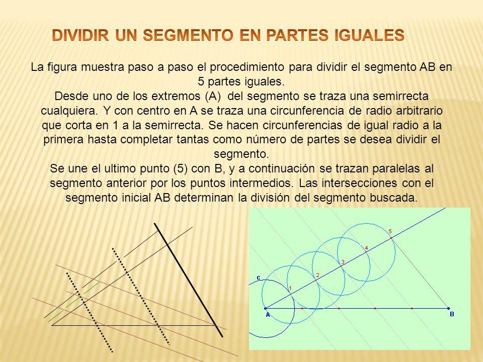 La figura muestra paso a paso el procedimiento para dividir el segmento AB en 5 partes iguales. Desde uno de los extremos (A) del segmento se traza un