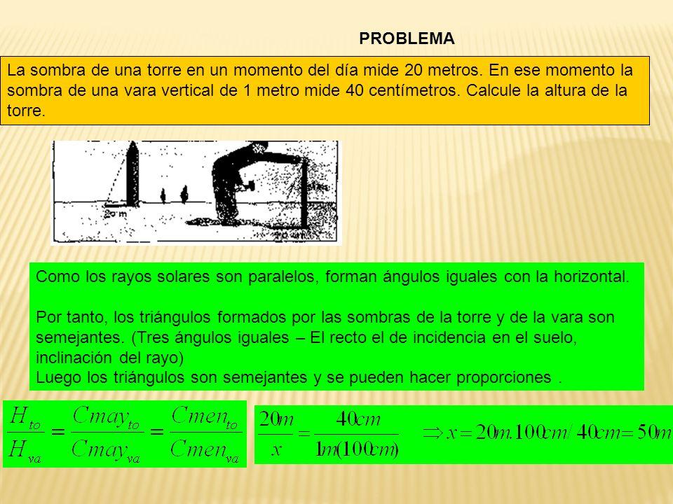 PROBLEMA La sombra de una torre en un momento del día mide 20 metros. En ese momento la sombra de una vara vertical de 1 metro mide 40 centímetros. Ca