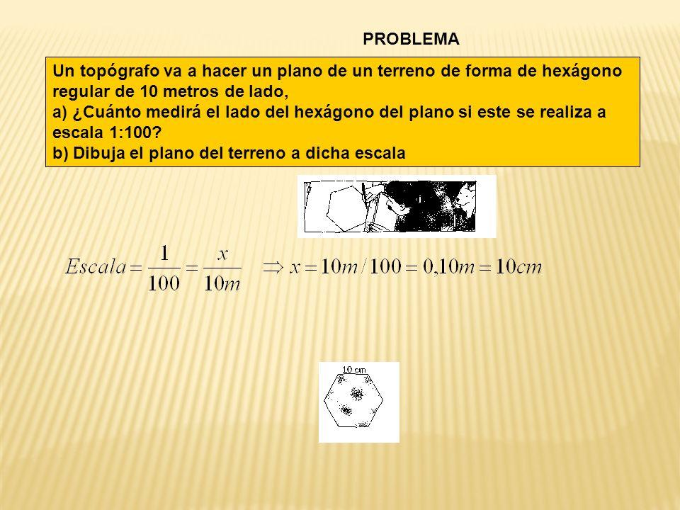 PROBLEMA Un topógrafo va a hacer un plano de un terreno de forma de hexágono regular de 10 metros de lado, a) ¿Cuánto medirá el lado del hexágono del plano si este se realiza a escala 1:100.