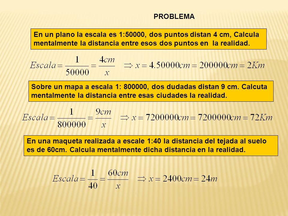 En un plano la escala es 1:50000, dos puntos distan 4 cm, Calcula mentalmente la distancia entre esos dos puntos en la realidad.