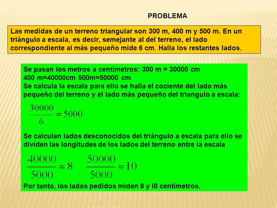 PROBLEMA Las medidas de un terreno triangular son 300 m, 400 m y 500 m. En un triángulo a escala, es decir, semejante al del terreno, el lado correspo