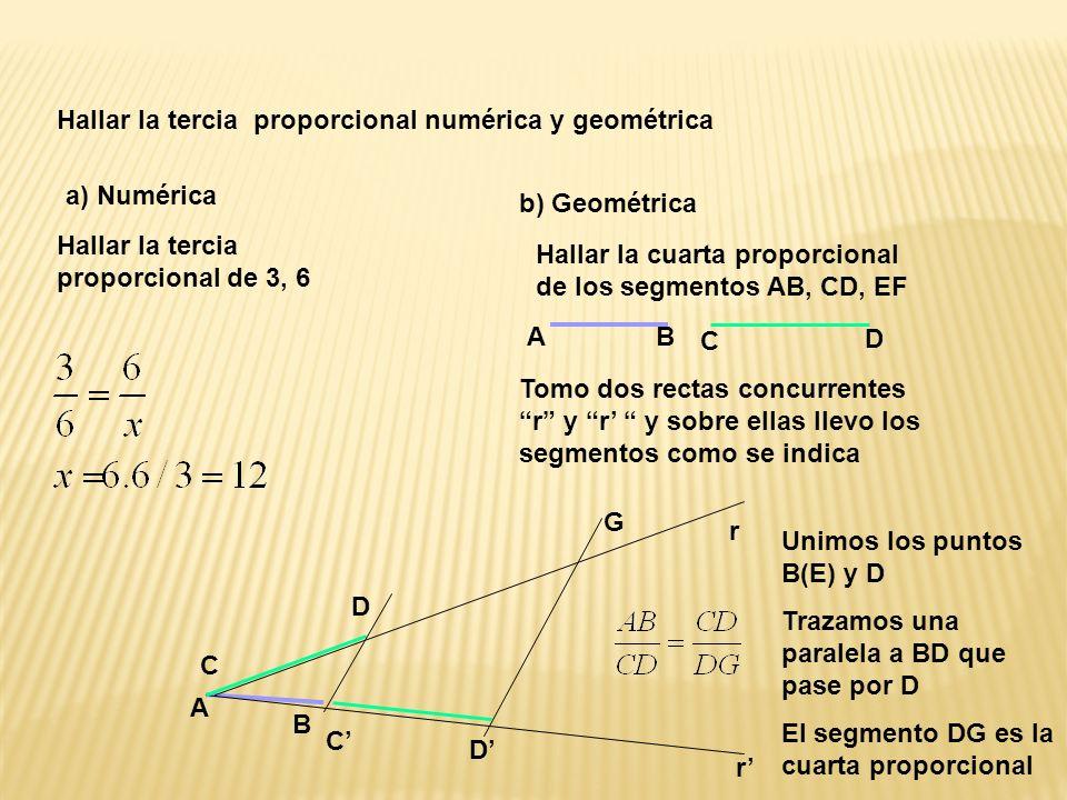 Hallar la tercia proporcional numérica y geométrica a) Numérica Hallar la tercia proporcional de 3, 6 b) Geométrica Hallar la cuarta proporcional de los segmentos AB, CD, EF Tomo dos rectas concurrentes r y r y sobre ellas llevo los segmentos como se indica C A D B B A C r D D C r Unimos los puntos B(E) y D Trazamos una paralela a BD que pase por D El segmento DG es la cuarta proporcional G