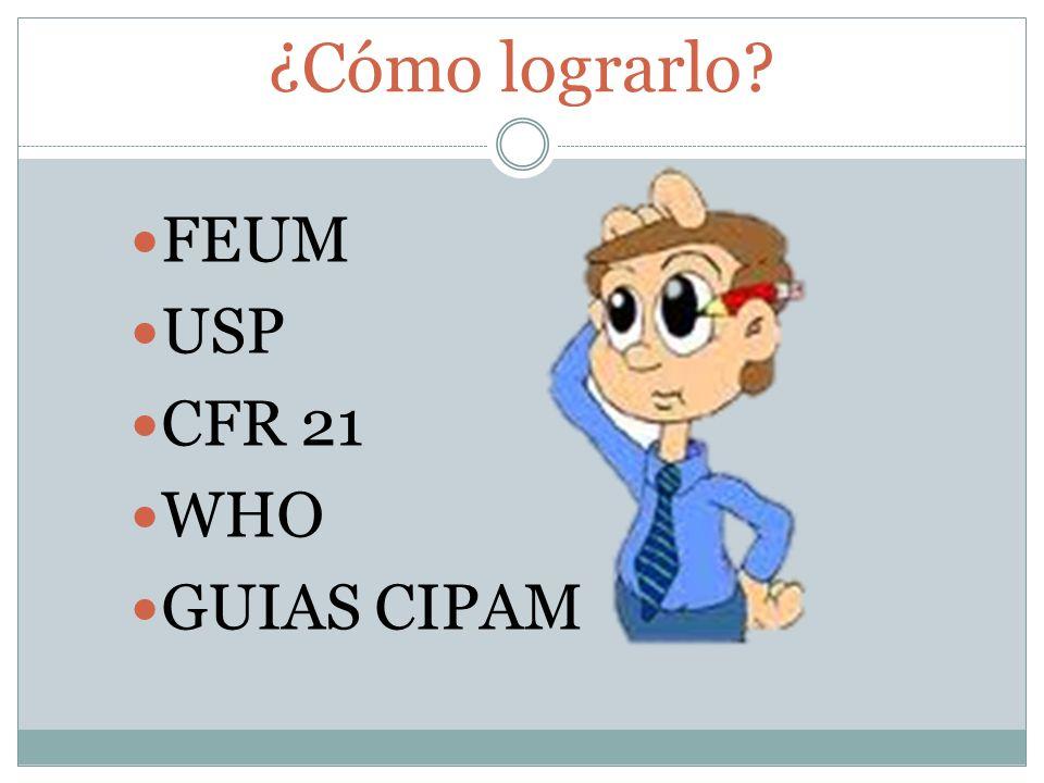 ¿Cómo lograrlo? FEUM USP CFR 21 WHO GUIAS CIPAM