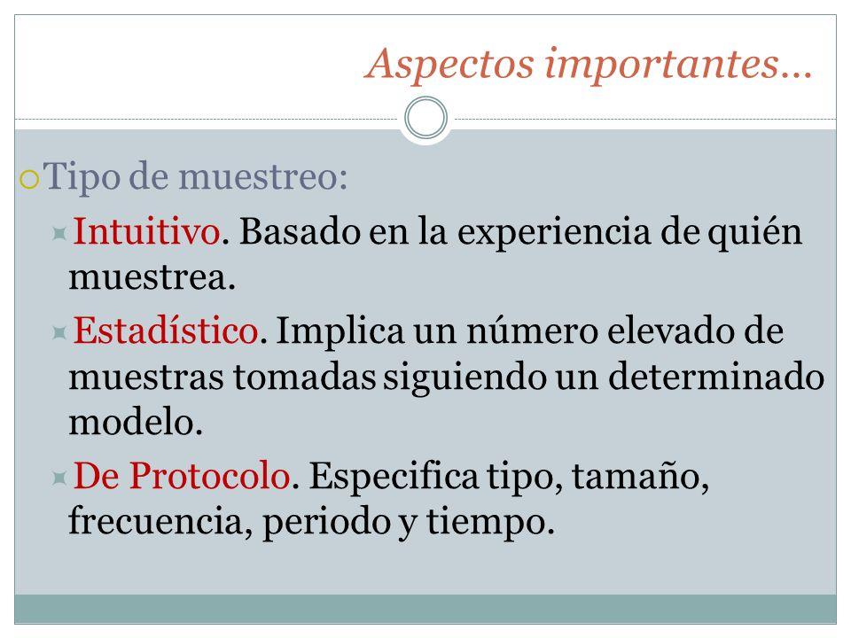 Aspectos importantes… Tipo de muestreo: Intuitivo. Basado en la experiencia de quién muestrea. Estadístico. Implica un número elevado de muestras toma