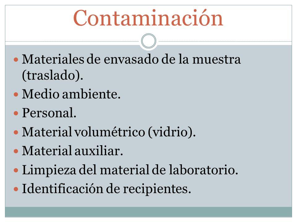 Contaminación Materiales de envasado de la muestra (traslado). Medio ambiente. Personal. Material volumétrico (vidrio). Material auxiliar. Limpieza de
