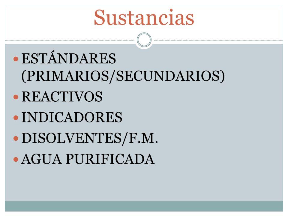 Sustancias ESTÁNDARES (PRIMARIOS/SECUNDARIOS) REACTIVOS INDICADORES DISOLVENTES/F.M. AGUA PURIFICADA