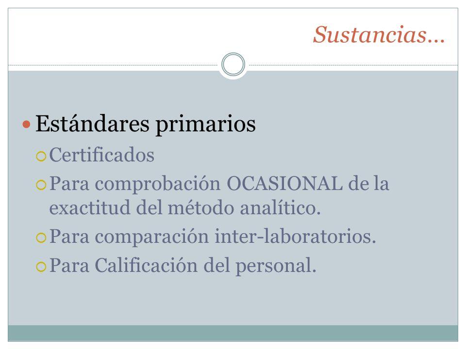 Sustancias… Estándares primarios Certificados Para comprobación OCASIONAL de la exactitud del método analítico. Para comparación inter-laboratorios. P