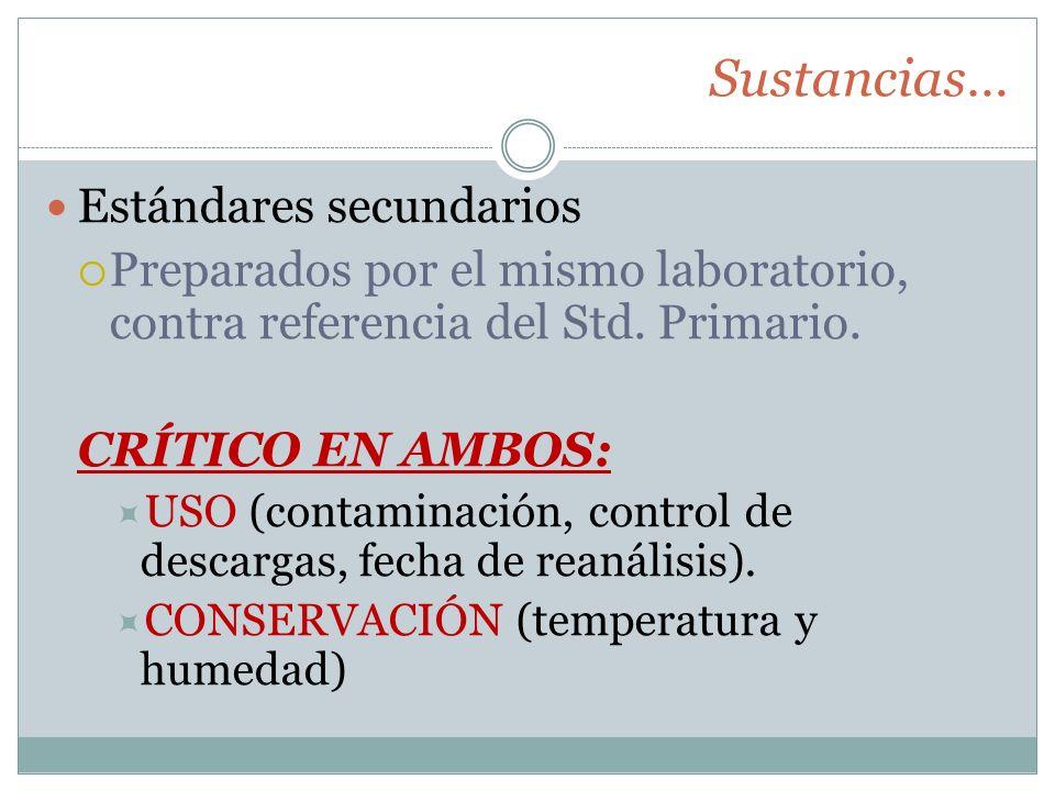 Sustancias… Estándares secundarios Preparados por el mismo laboratorio, contra referencia del Std. Primario. CRÍTICO EN AMBOS: USO (contaminación, con