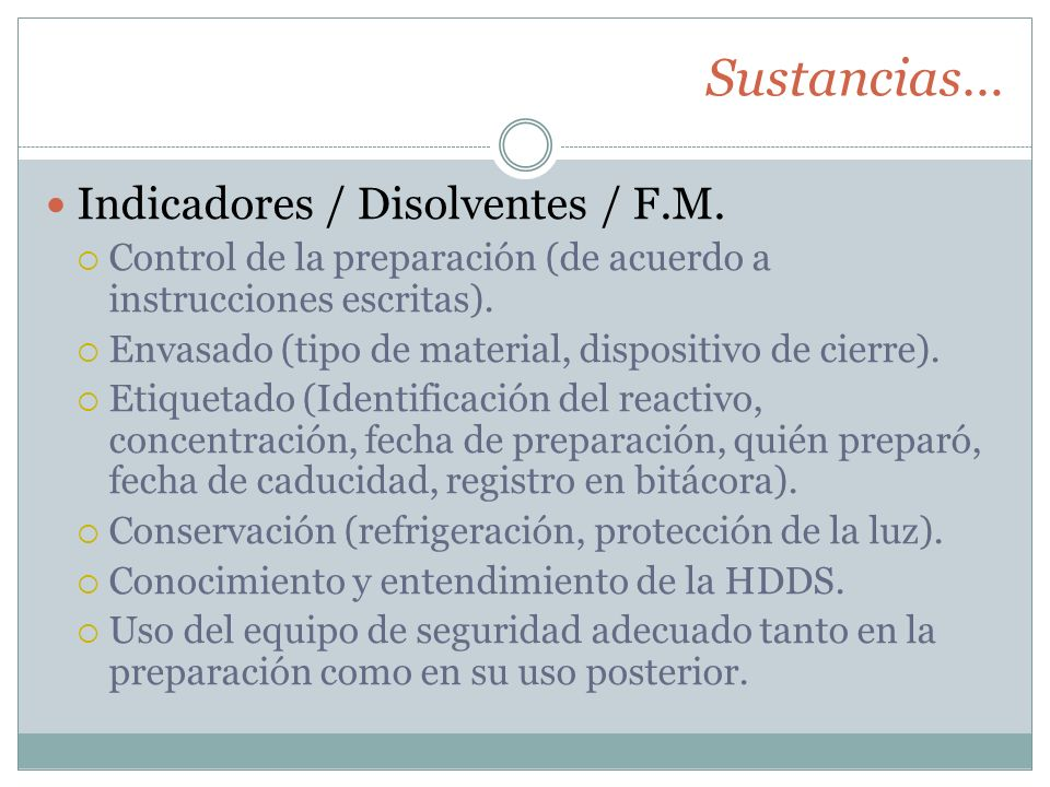 Sustancias… Indicadores / Disolventes / F.M.