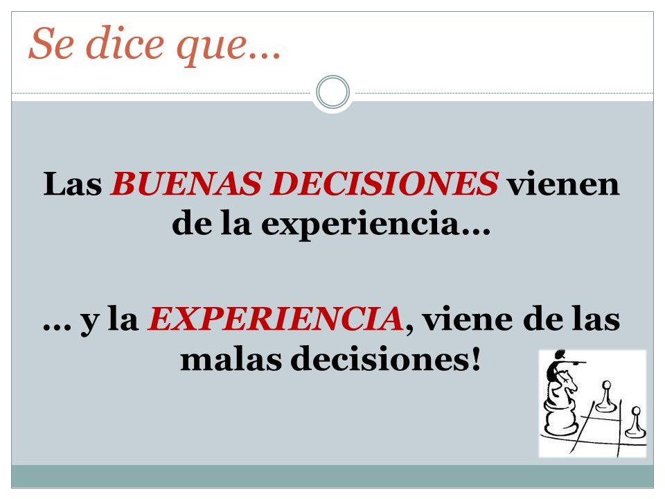 Las BUENAS DECISIONES vienen de la experiencia… … y la EXPERIENCIA, viene de las malas decisiones! Se dice que…