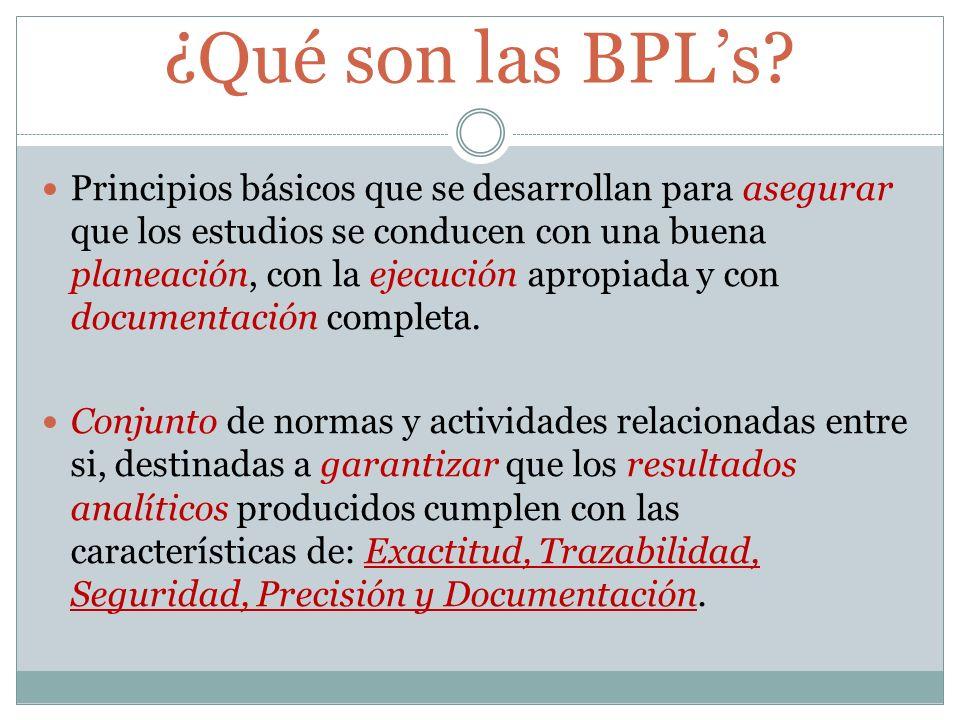 ¿Qué son las BPLs? Principios básicos que se desarrollan para asegurar que los estudios se conducen con una buena planeación, con la ejecución apropia