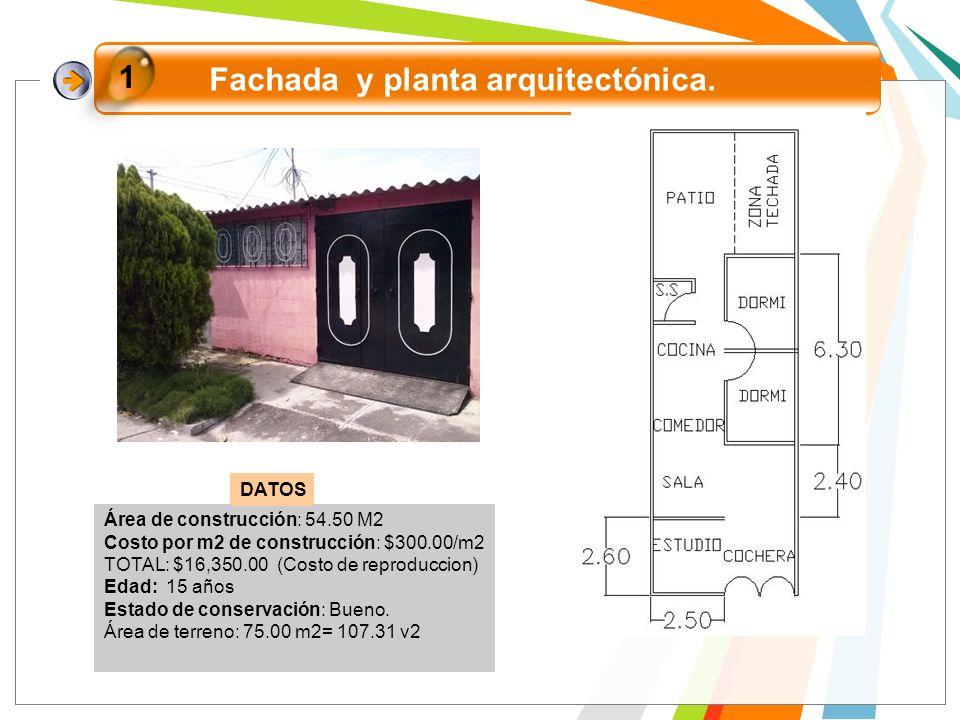 Fachada y planta arquitectónica. 1 Área de construcción: 54.50 M2 Costo por m2 de construcción: $300.00/m2 TOTAL: $16,350.00 (Costo de reproduccion) E